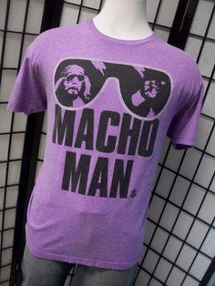 WWE Macho Man Randy Savage Men's Neon Heathered Purple Shirt XL WWF Oh Yeah WOW! #WWE #GraphicTee
