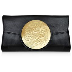 Dareen Hakim Le Icon Clutch: Coal w/ Gold ($305) ❤ liked on Polyvore