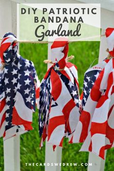 This easy Fourth of July or Labor Day craft celebrates the red white and blue by making a cute and easy tassel garland using americana bandanas, twine, and scissors. Come see how easy this craft is to make. #americana #fourthofjuly #crafts #garlands #tassels Tassel Garland, Garlands, Tassels, Labor Day Crafts, Fourth Of July Food, Hannukah, Bandanas, Winter Holidays, Favorite Holiday