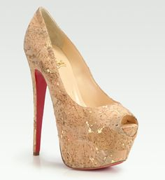 Christian Louboutin Highness Cork Lamé Platform Pumps --- This is