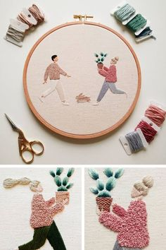 Hand embroidery // contemporary embroidery A woman working under the name Slow Evenings Embroidery celebrates plant parents with her hoop art. The characters are excited about their new babies. Creative Embroidery, Learn Embroidery, Hand Embroidery Stitches, Embroidery Hoop Art, Hand Embroidery Designs, Embroidery Techniques, Cross Stitch Embroidery, Embroidery Ideas, Machine Embroidery