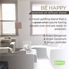 Having company over this weekend? If so I've got a great blend for you to try! A blend of the Bergamot, Geranium, and Lavender essential oils are great for uplifting the mood in the room and generally just making everyone happy. Have a great weekend everyone! www.hayleyhobson.com