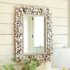 [oyster shell mirror] [shore décor]  I  ballarddesigns.com