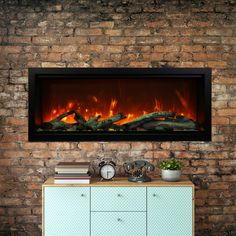 Latitude Run Ellerby Clean Face Wall Mounted Electric Fireplace Size: H x W x D Built In Electric Fireplace, Electric Fireplaces, Real Fire, Canopy Lights, Installation Manual, Face Design, Clean Face, Fire And Ice, Driftwood