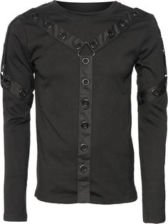 Men's long-sleeve top with eyelets and straps