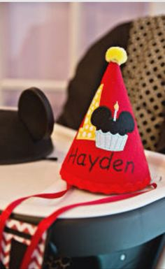 Mickey Mouse Clubhouse Birthday Party-- decorations/Birthday hat; Happy Birthday Hayden!