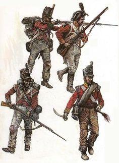 """Fuciliere del 45 rgt. fanteria di linea inglese """"Nottinghamshire"""" (sx sopra), fuciliere del 14 rgt. di fanteria inglese """"Bedfordshire"""" (dx sopra), fuciliere del 43 rgt. fanteria leggera inglese """"Mommouthshire"""" (sx, sotto) e capitano del 28 rgt. inglese """"North Gloucesteshire"""" (ds, sotto)"""
