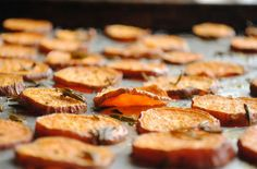 Tender Roasted Sweet Potato Chips. Just slice thinly, toss with olive oil, fresh rosemary, kosher salt. Bake at 350 for 25 minutes!
