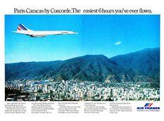 Publicidad de Air France de su vuelo del Concorde París - #Caracas.
