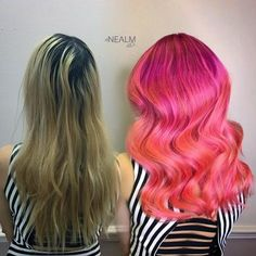 """Neal Malek(@nealmhair) of Orlando, Florida says he loves doing color corrections and """"I spend most of my days doing vivids and balayage. I would say I get about 5 new clients a week from Instagram. I am a Brazilian Bond Builder sponsored artist and I travel all over with them and our team which I love. My favorite thing to do is coloring hair and doing photo shoots."""" We are fans. When we this makeover on Instagram we had to know more. Malek shares the details for this 4 hour transformation:"""