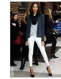 Fall Whites  GET THE LOOK: blue short blazer light grey t-shirt white skinny trousers black pumps black scarf