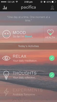 """everyone get this app its soooo good for stress & anxiety & getting things off your chest etc its called pacifica"" Anxiety Tips, Stress And Anxiety, Mindfulness App, Tracking App, Health App, Mental Health, Me App, Learn To Surf, Ui Design"