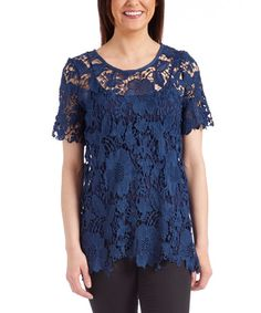 Look what I found on #zulily! Navy Floral Lace Tunic #zulilyfinds
