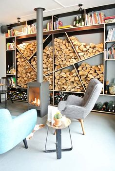 Creative Firewood Storage Can Become a Focal Point in Interior