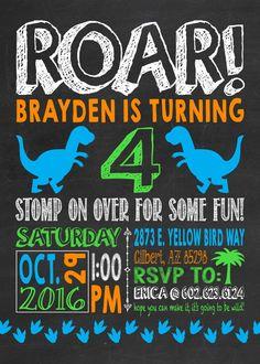 Dinosaur Birthday Invitation Party Dino Roar For Four 4 Printable