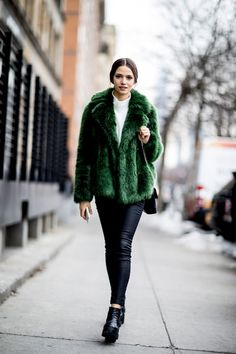 Emerald Green - These Street Style Stars Wore the BEST Faux Fur Coats at NYFW - Photos