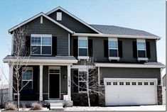 Grey Exterior House Impressive Of Exterior House Color Dark Door Dark Shutters Grey Siding And Grey Siding House, Black House Exterior, Exterior Paint Colors For House, Grey Exterior, Paint Colors For Home, Exterior Design, Exterior Colors, Gray Siding, Paint Colours
