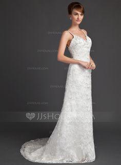 A-Line/Princess Sweetheart Sweep Train Satin Lace Wedding Dress With Beading (002000220)