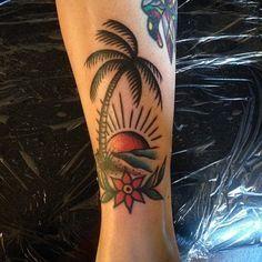 Old school beach tattoo on Pinterest | Palm tree tattoos Tattoo old ...