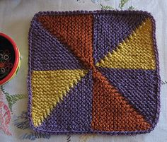 "Free - Great afghan block tutorial to practice and get a hang for your short-row technique.  Ravelry: Knit PInWheel 9"" afghan block pattern by Margaret MacInnis"