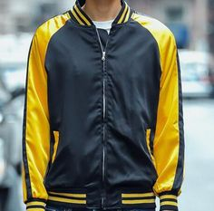 Black and golden color block bomber jacket for men plus size clothing