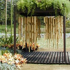 bamboo dances terrace / If people enter, the bamboo which is hanging down will come into contact with, and sound will become.