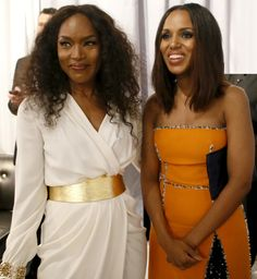 Angela Bassett & Kerry Washington pose in the green room at the 66th Emmy Awards, 8/25/14