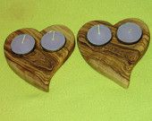 heart for tea lights set of 2 ,olive wood .