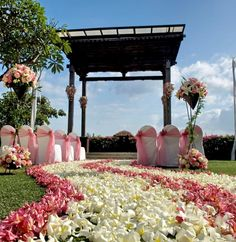 Outdoor: Romantic Wedding Gazebo With White Chairs On The Ground And Flowers On The Path: Romantic Inspiring Wedding Gazebo Ideas