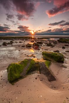 Sunset at Nairn, Scotland. Nairn is a town and former burgh in the Highland council area of Scotland. It is an ancient fishing port and market town about 16 miles east of Inverness. Photo: greenmoments.co.uk