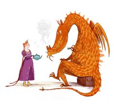 Dragon and princess Dragon Illustration, Monster Illustration, Exotic Pets, Exotic Animals, Got Dragons, Dragon Princess, Interesting History, Childrens Books, Fairy Tales