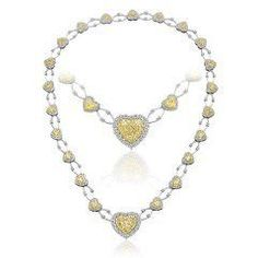 14.16 Ct Fancy Yellow Diamond Necklace