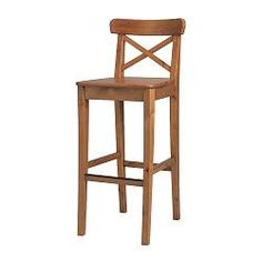 "INGOLF Bar stool with backrest - antique stain, 24 3/4 "" - IKEA  Reasonable price $60 -- not sure about the color, though."
