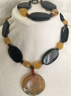 Onix and Citrine Necklace with matching by MonteforteDesigns FREE SHIPPING 30% DISCOUNT