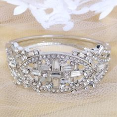 The Great Gatsby Inspired Swarovski Crystal Wedding Bracelet, Silver Accessories, Bridal Bangle, Bridesmaid Jewelry-177118104 on Etsy, $22.23 AUD