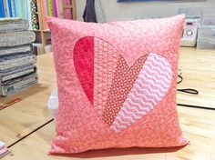 Patchwork Love DIY Pillow - Learn how to make a pillow with this Valentine's Day idea.