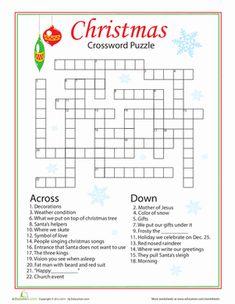 Christmas Fourth Grade Crossword Worksheets: Christmas Words