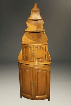 19th century country French hand carved corner cabinet in walnut, circa 1870. #antique #cupboards