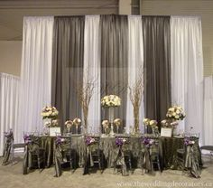 Pipe and drape look amazing in our ballroom! Try this behind the head/sweetheart table for a unique look. #windsorparkdallas