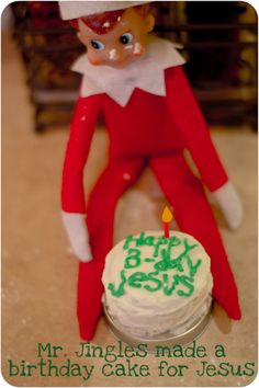 Mr. Jingles baked a cake for Jesus' birthday- after all Jesus is the reason for the season!