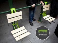 """Softwalks activating sidewalk scaffolding for public enjoyment using a """"kit of parts"""" consisting of hanging chairs, countertops, planters, and the like (via GOOD)"""