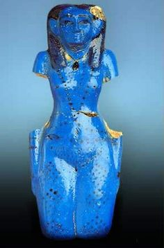Concubine of the Dead  --  Theban Necropolis, Tomb of Neferhotep  --  11th Dynasty, Reign of Mentuhotep  --  2061-2010 BCE  --  Blue Faience  --  Cairo Antiquity Museum