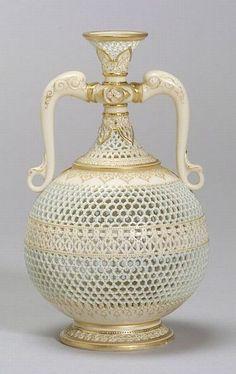 Royal Worcester Porcelain Reticulated Vase, England