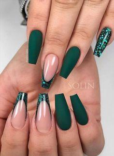 Acrylic Nails Coffin Short, Simple Acrylic Nails, Coffin Nails, Acrylic Nails Autumn, Acrylic Nails Green, Blue Gel Nails, Stylish Nails, Trendy Nails, Dark Green Nails