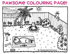 Free colouring page from Minnie The Westie cartoon dog