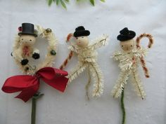 3 Vintage Spun Cotton Pipe Cleaner Chenille Snowman Christmas Decor or Craft | eBay