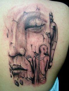 Buddha and Monk tattoo design
