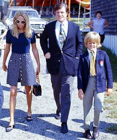 Joan Kennedy, Ted Kennedy and Ted Kennedy Jr. - Sunday mass at the Melody Tent, Hyannisport, MA, August 14, 1971 Ron Galella/WireImage.com