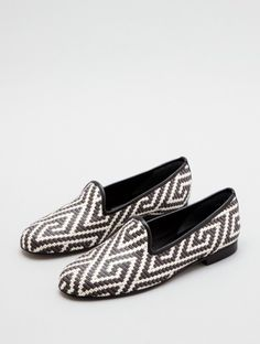 """Today's So Shoe Me is the Gentry by Zalo by Ramon Tenza, $161, available at Lori's Shoes. The lightweight woven upper in a chic monochrome print makes these a simple way to step up your style during transitional """"almost through winter, but not quite spring"""" weather."""