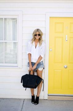 Chemisier tunique blanc et ample + short en jean !